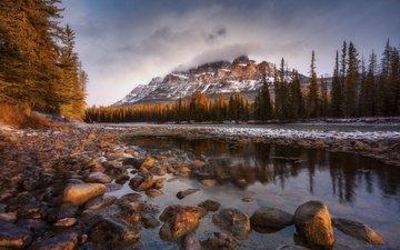 облака, река, горы, камни, лес, пейзаж
