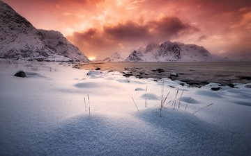облака, вечер, горы, снег, зима, север
