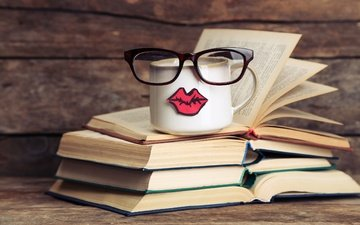 glasses, coffee, books, mug, humor, sponge, page