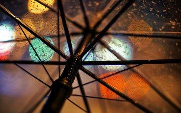огни, макро, прозрачный, дождь, зонт, зонтик, спицы