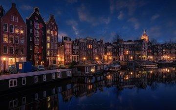 огни, вечер, город, канал, нидерланды, амстердам
