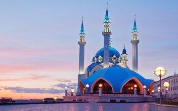 огни, вечер, закат, кремль, архитектура, мечеть, казань, татарстан