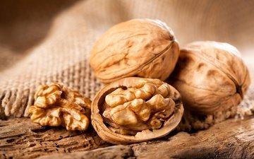 орехи, макро, зерна, скорлупа, мешковина, грецкий орех