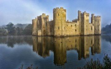 отражение, туман, замок, англия, башни, замок бодиам, старинный