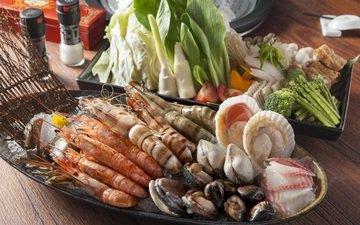 овощи, морепродукты, креветки, моллюски