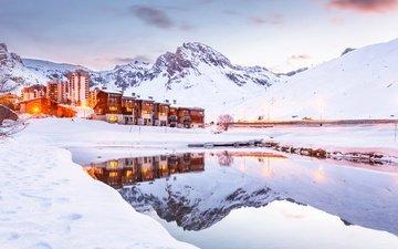 озеро, горы, снег, зима, курорт, франция, отель, альпы