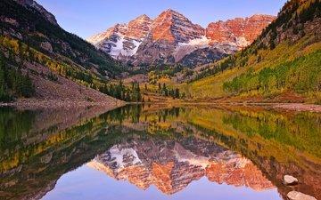 озеро, отражение, утро, гора, осень, сша
