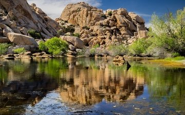 озеро, скалы, природа, камни, отражение, сша, калифорния, joshua tree national park, национальный парк