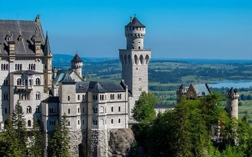 panorama, castle, wall, tower, germany, neuschwanstein
