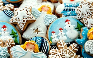 new year, snowmen, sweet, cookies, cakes, dessert, glaze, angels