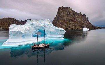 rocks, reflection, landscape, sea, ship, ice, iceberg