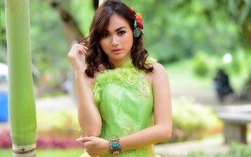 девушка, платье, взгляд, волосы, лицо, браслет, азиатка, sandra yunita
