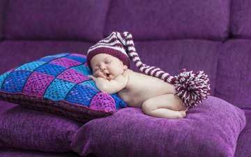 pillow, sleep, children, child, sofa, baby, cap