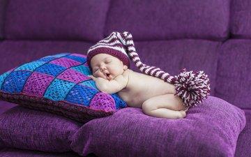 подушки, сон, дети, ребенок, диван, младенец, колпак