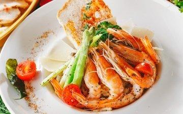 помидор, морепродукты, блюдо, креветки, спаржа