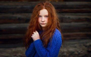 портрет, дети, девочка, волосы, лицо, веснушки, рыжеволосая