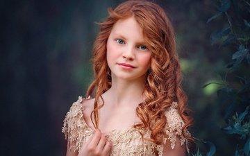 portrait, children, red, girl, hair, face, bokeh, edie layland, blue ginger