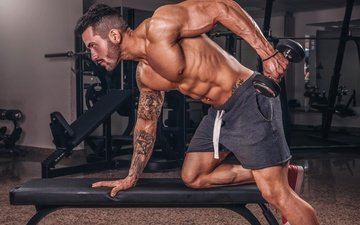 pose, tattoo, male, figure, shorts, muscles, athlete, the gym, bodybuilding, exercise, dumbbell, simulators