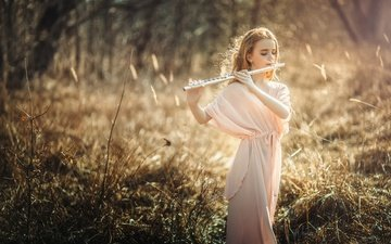 nature, mood, children, girl, hair, face, bokeh, flute