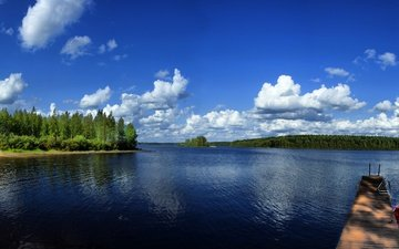 the sky, clouds, trees, river, nature, panorama, boat, canada