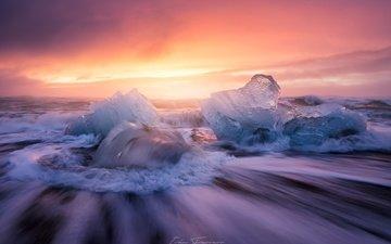 природа, пляж, лёд, исландия, выдержка