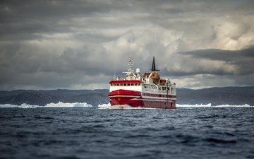 nature, clouds, sea, ship