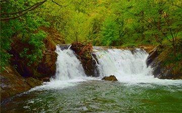 деревья, река, природа, зелень, водопад