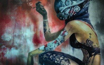 провода, шлем, дым, татуировка, женщина, киборг, сигарета, киберпанк