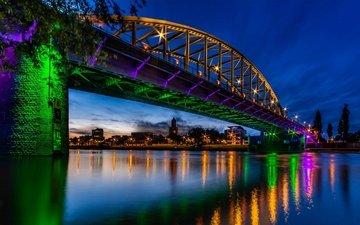 река, мост, блики, ночной город, нидерланды, рейн, мост джона фроста, арнем