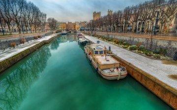 river, bridge, ship, channel, home, france, languedoc-roussillon, narbonne