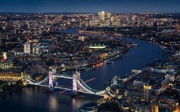река, панорама, лондон, темза, англия, тауэрский мост