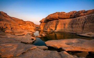 река, скалы, камни, закат, парк, таиланд, grand canyon, каменное, sampanbok