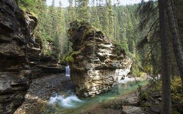 река, скалы, пейзаж, водопад, каньон, канада