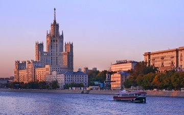 river, morning, moscow, the city, russia, boat, alexander osedach