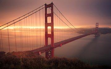 река, закат, горизонт, мост, город, сша, сан-франциско, калифорния, золотые ворота