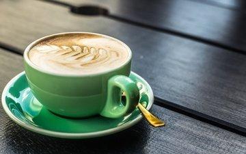 рисунок, корица, кофе, чашка, пена, капучино