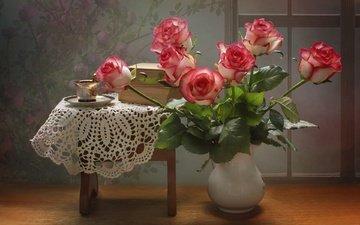 цветы, розы, книги, букет, салфетка
