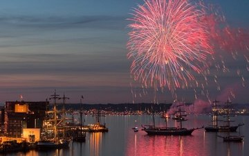 salute, ship, fireworks, germany, harbour, kiel, schleswig-holstein