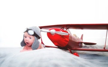 the plane, pilot, children, child, baby, airplane, headset