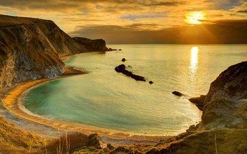 небо, облака, скалы, берег, закат, пейзаж, море, песок, горизонт, побережье