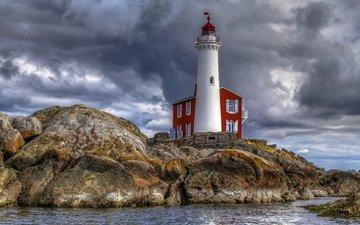 скалы, море, маяк, канада, британская колумбия
