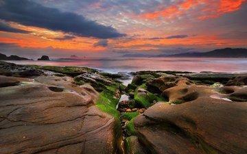 небо, облака, скалы, закат, море, побережье