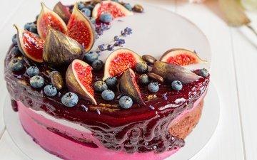 лаванда, ягоды, черника, сладкое, торт, десерт, инжир