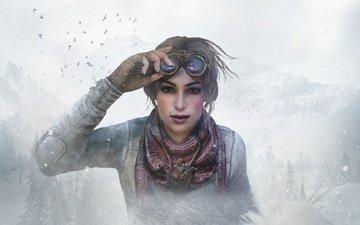 снег, девушка, очки, игра, приключения, дичь, квест, quest, syberia 3, кейт уолкер, сибирия, syberia, сибирия 3