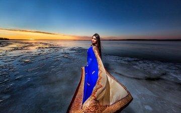 солнце, берег, стиль, девушка, настроение, горизонт