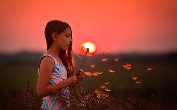 the sun, sunset, children, girl, hair, face, dandelion