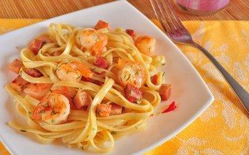 соус, морепродукты, креветки, макароны, лапша, паста