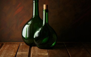 стекло, бутылки, две, пробки, two green bottles