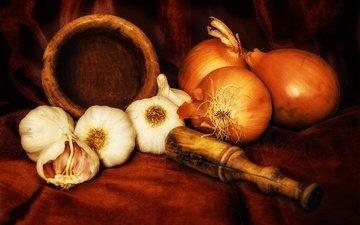 стиль, лук, овощи, натюрморт, чеснок, специи