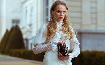 стиль, девушка, платье, блондинка, фотоаппарат, локоны